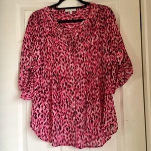 Chaus New York Pink Leopard Print Pintuck Blouse